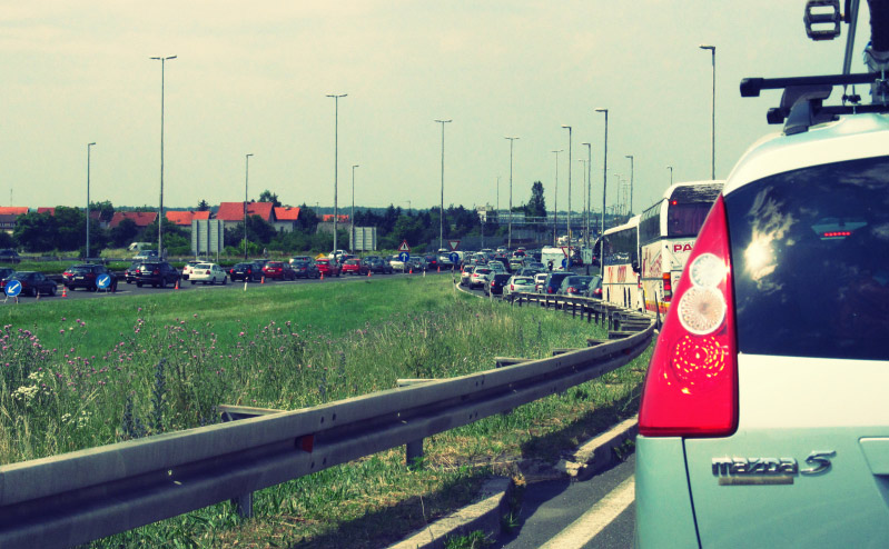 Traffic jam on the way to the Zagreb Riviera