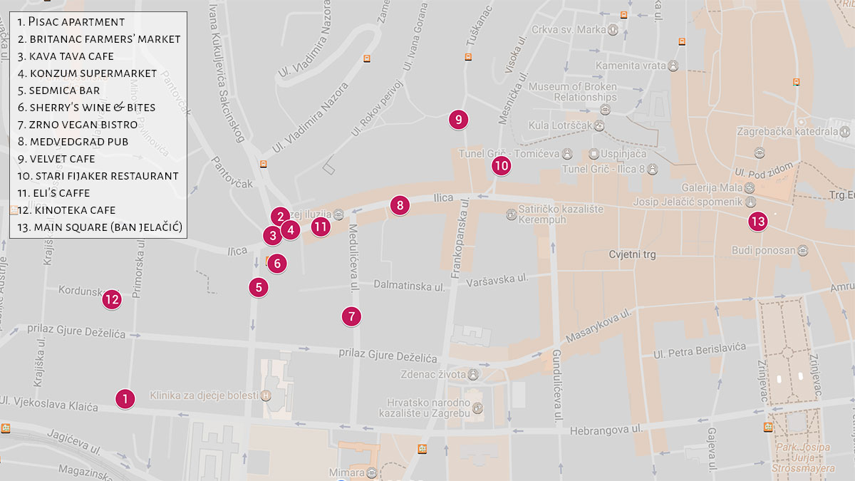 Map of amenities near Britanski trg | Zagreb Honestly