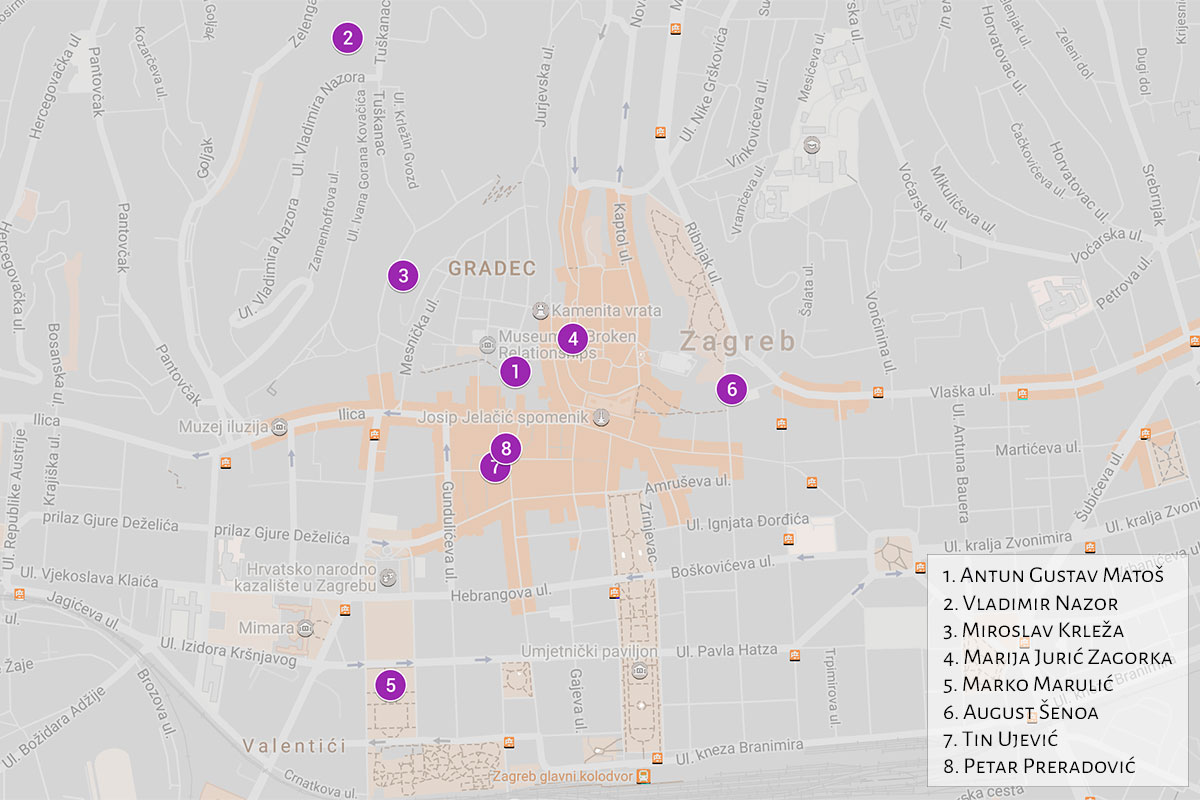 Map of Croatian writers statues in Zagreb | Zagreb Honestly