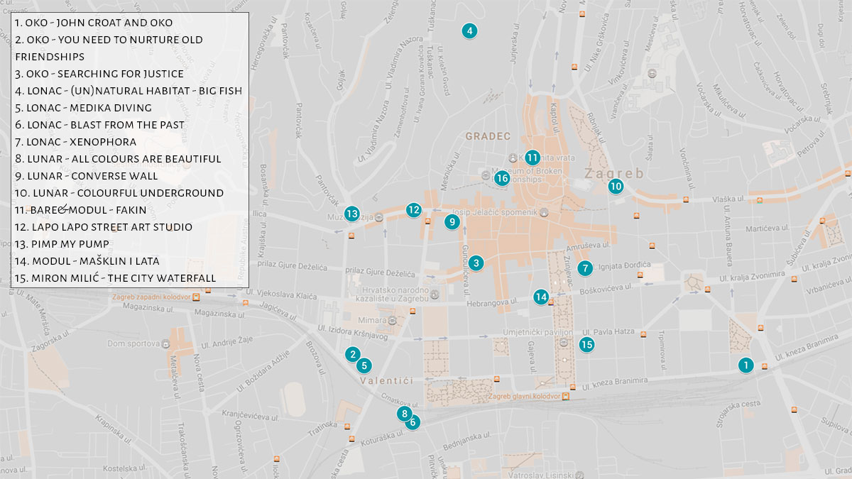 Map of best Zagreb street murals | Zagreb Honestly