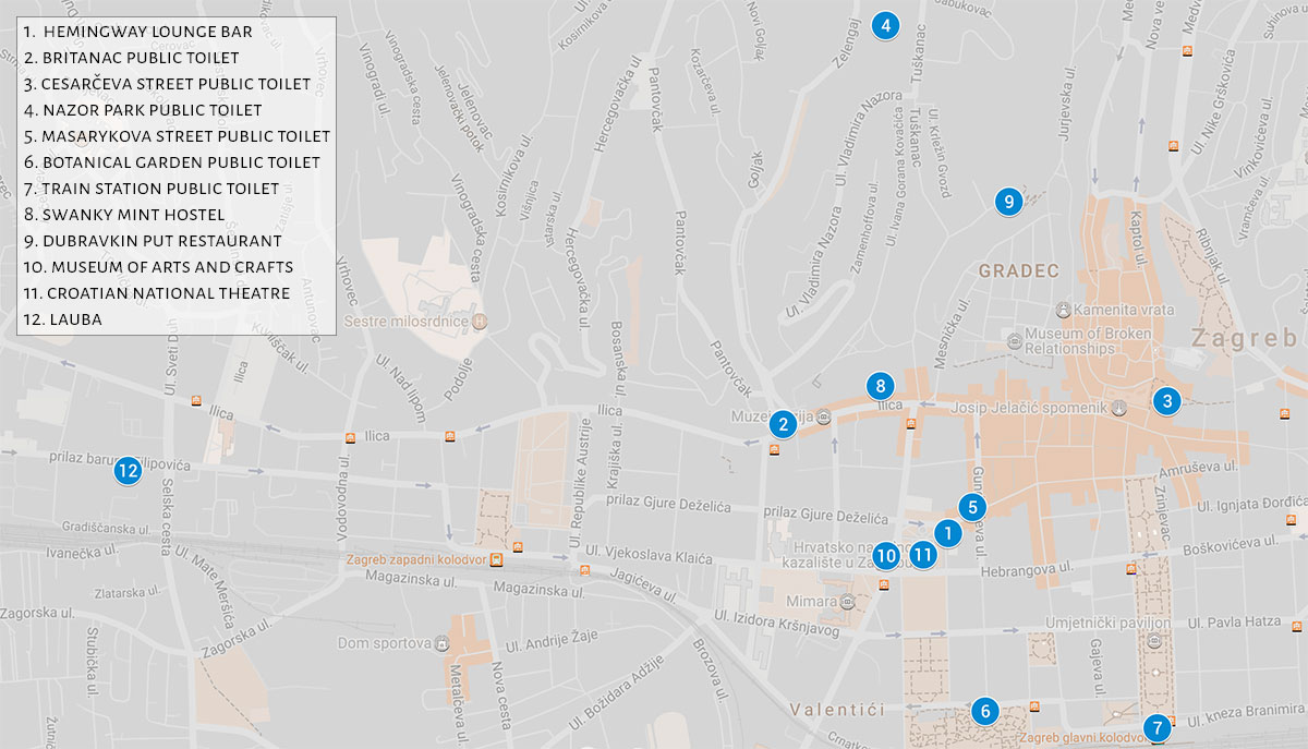 Map of Zagreb toilets | Zagreb Honestly