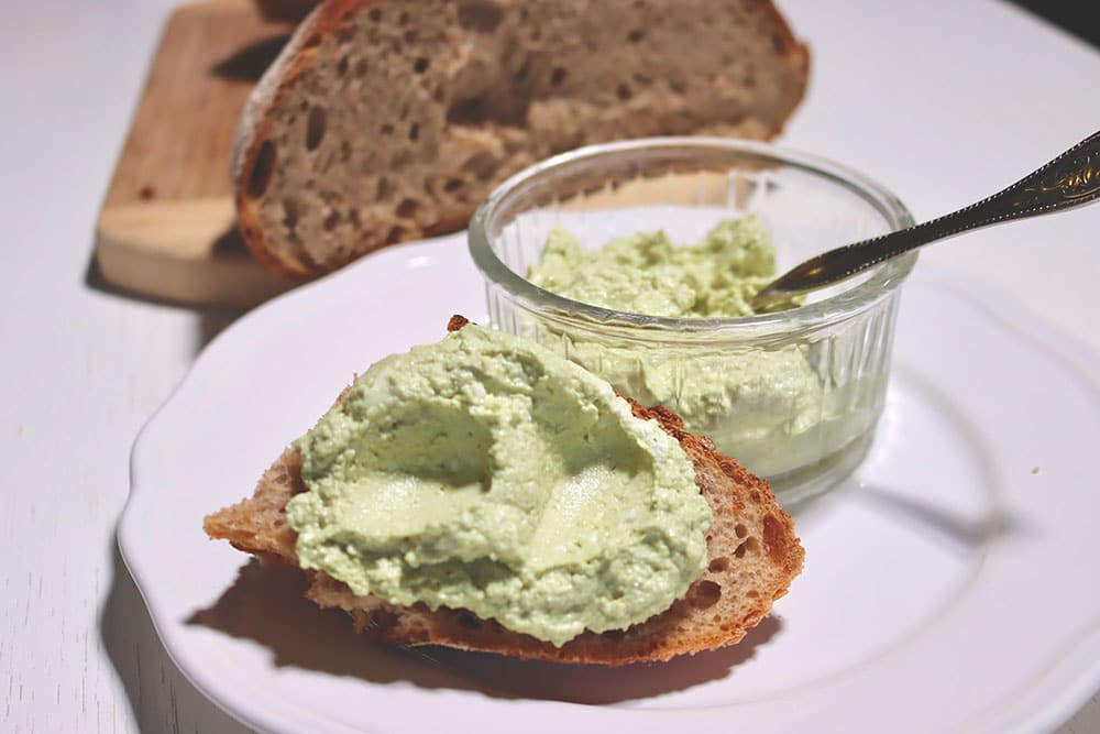 Croatian bread and cottage cheese with pumpkin seed oil